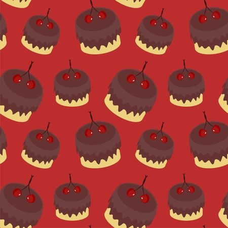 seamless background with cakes Vector