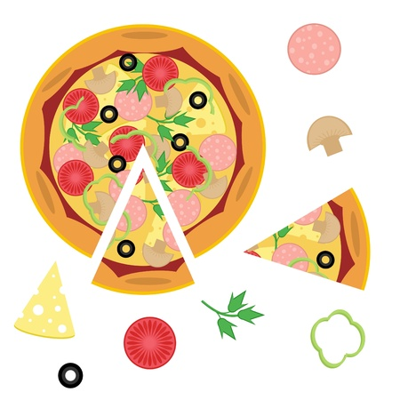 pizza and ingredients on white background Vector