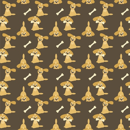 Seamless background with dogs and bones Vector