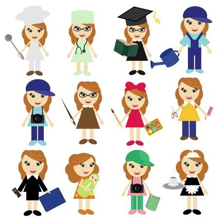 sitter: different jobs girls on white Illustration
