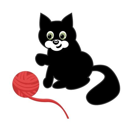 woolen: cat with woolen ball on white