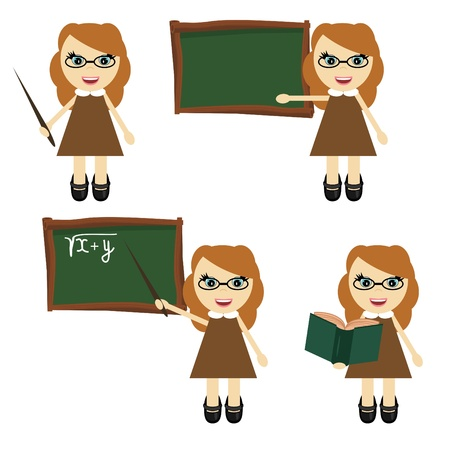 nice teacher in different positions Vector