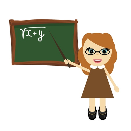 nice young teacher near the board Vector