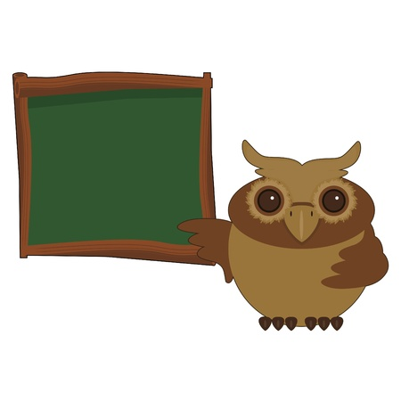 nice owl near board Vector