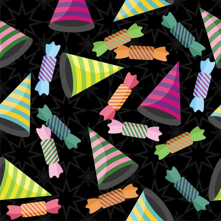seamless background with stripe hats, candies and confetti Vector