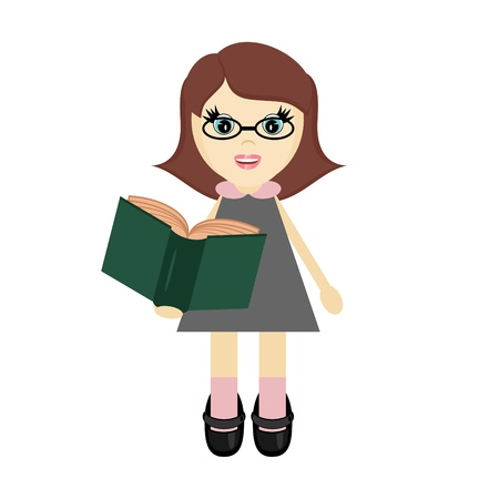nice girl with book Stock Vector - 12364917