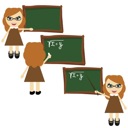 nice teacher near board Stock Vector - 12364920