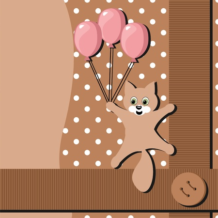 card with cat and balloons Vector