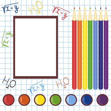 school frame with pencils and paints Stock Vector - 12364964