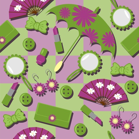 seamlless background with lady objects Vector