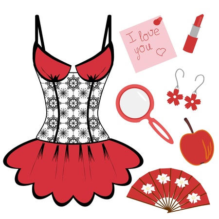 sexy woman lingerie: lady objects on white background Illustration