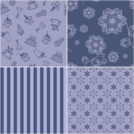 four seamless backgrounds Vector