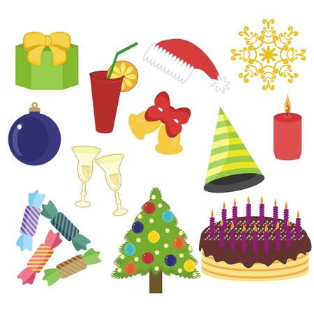 New Year and Christmas objects on white background Vector