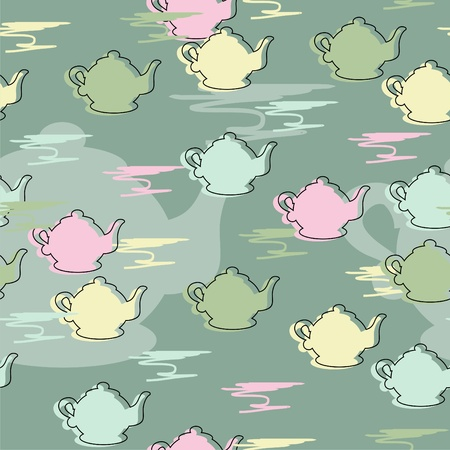seamless background with teapots Vector