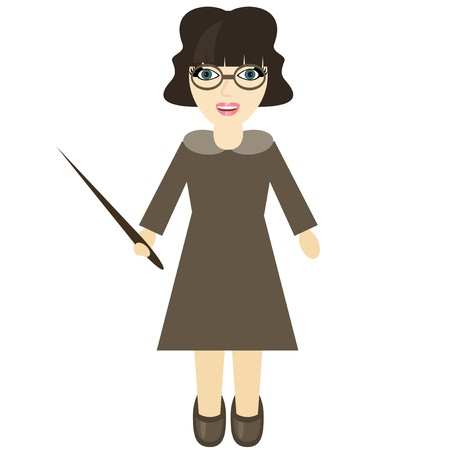 teacher with pointer on white background Vector