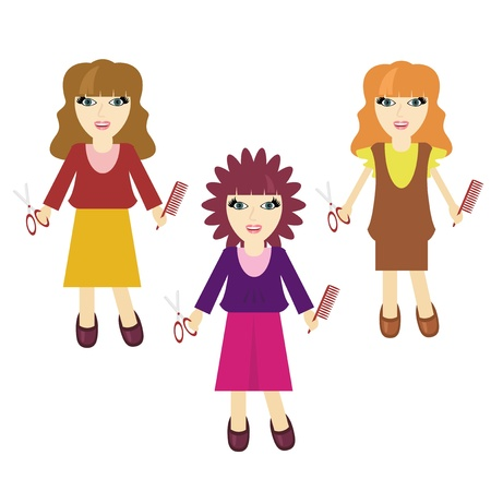 three nice haidressers girls on white Vector