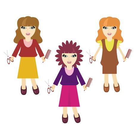 three nice haidressers girls on white Stock Vector - 13115008