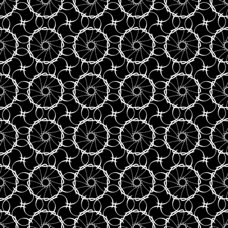 white lace on black, seamless background Vector