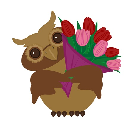 nice owl with bouquet of tulips Vector