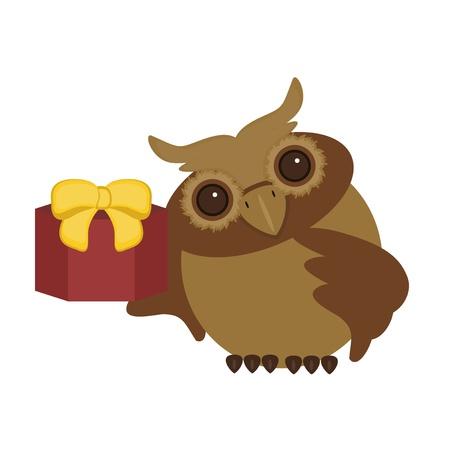 nice owl with present box Vector