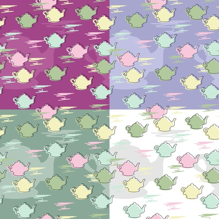 four seamless backgrounds with teapots Vector
