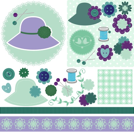 scrap booking set of objects on white Vector
