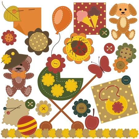 cream paper: scrapbook set with children objects