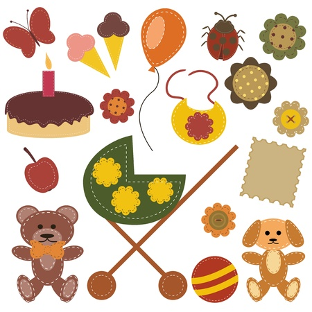 scrapbook set with children objects Vector