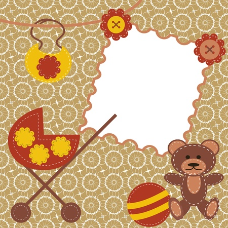 children frame with perambulator scrapbook Vector