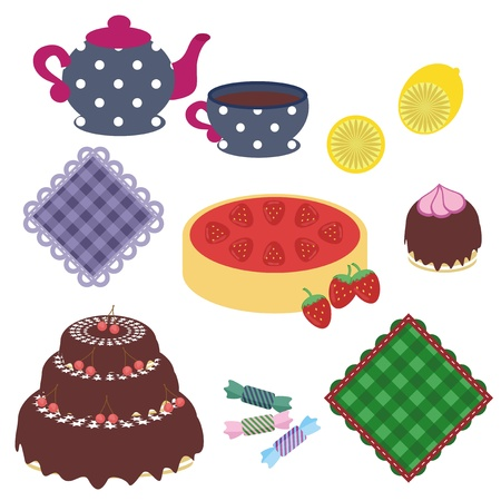 set with objects for tea party Vector