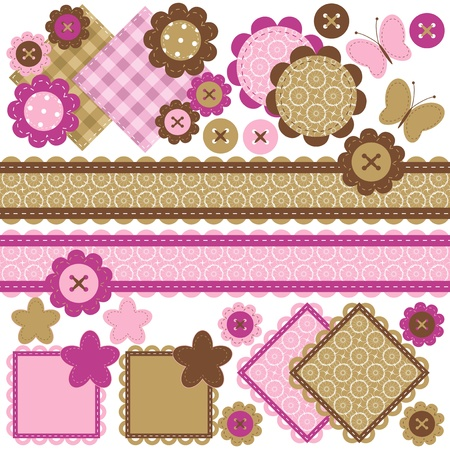 scrap booking: scrapbook objects with lace on white background Illustration