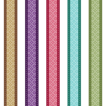 color lace strips on white background Illustration