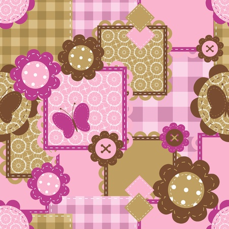 seamless background with needlwwork scrapbook objects Vector