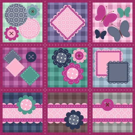 patchwork set seamless with different scrapbook objects Vector