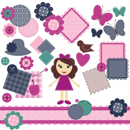 scrapbook objects with lace on white background Vector
