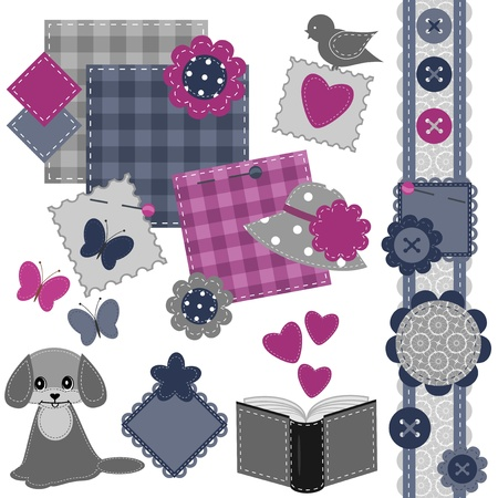 scrapbook set with different objects