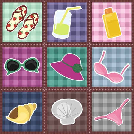 patchwork pattern with beach objects Vector