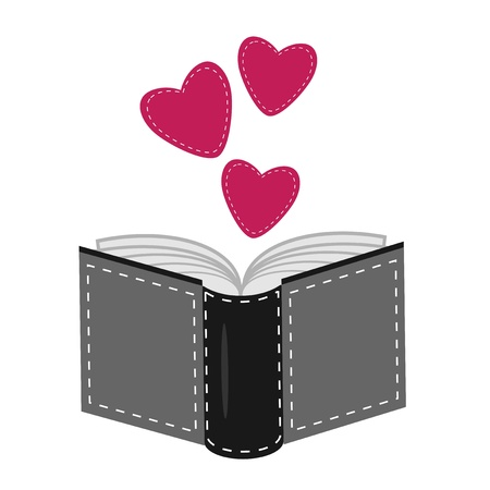 book with hearts on white background