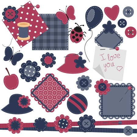 scrapbook objects on white background Stock Vector - 13367664