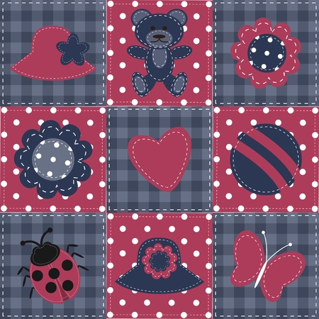 patchwork background with objects Vector