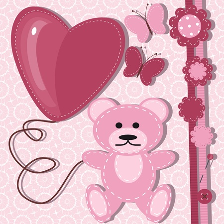greeting card for baby with teddy bear Vector