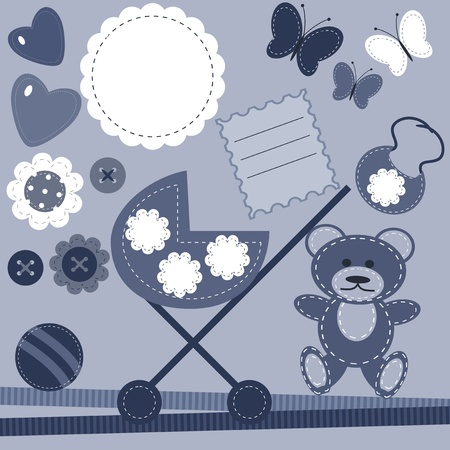 set with objects for baby birthday Vector