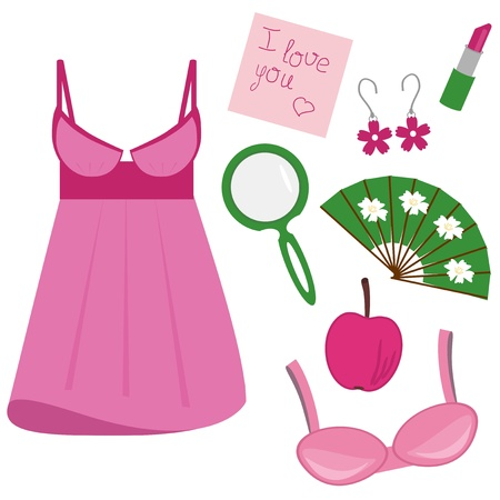 lady objects on white background Vector