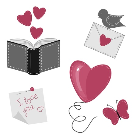 set with romantic love objects Illustration