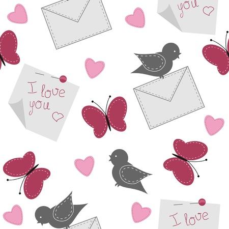 declaracion de amor: de fondo sin fisuras con los p�jaros, las mariposas y el papel Vectores