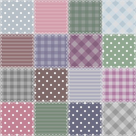 gingham: patchwork background with different items