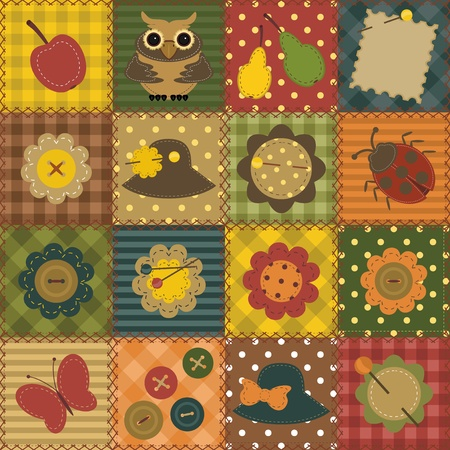 craft button: patchwork background with different patterns