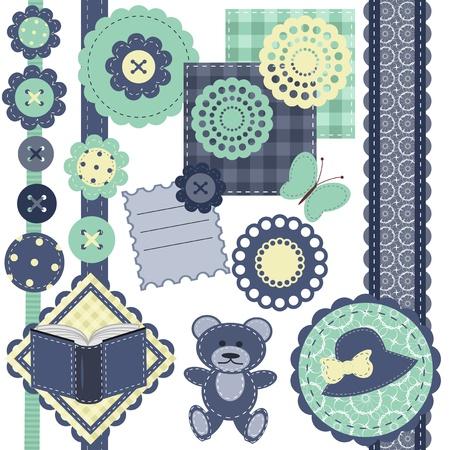 ferraille: fixer avec des objets de scrapbook sur blanc Illustration