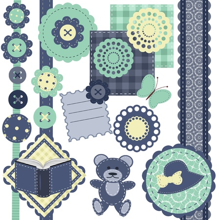 set with scrapbook objects on white