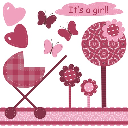 set with scrapbook object for newborn girl Vector